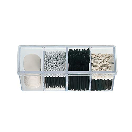 4-Compartment Makeup Organizer and Storage: Transparent Multi-Functional Bathroom Closet Storage with 4 Trays and Clear Lid for Cosmetics, Cotton Balls or Sponges