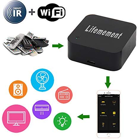 Lifemement WiFi Smart IR Remote Controller Smart Home Infrared Universal Remote Blaster,All in One Automation Learning Universal Remote Control,Compatible with Alexa and Google Home,No Hub Required